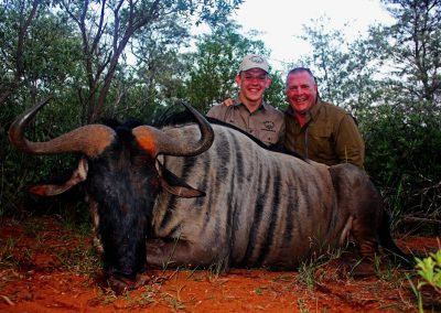 Father and son hunting in Africa blue wildebeest