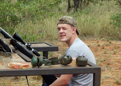 Sighting the rifle African hunting safari