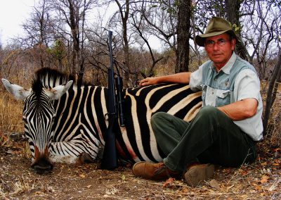 Hunting zebra in Africa